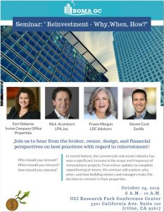 "SEMINAR: ""REINVESTMENT - WHY, WHEN, HOW?"" @ UCI Research Park Conference Center"
